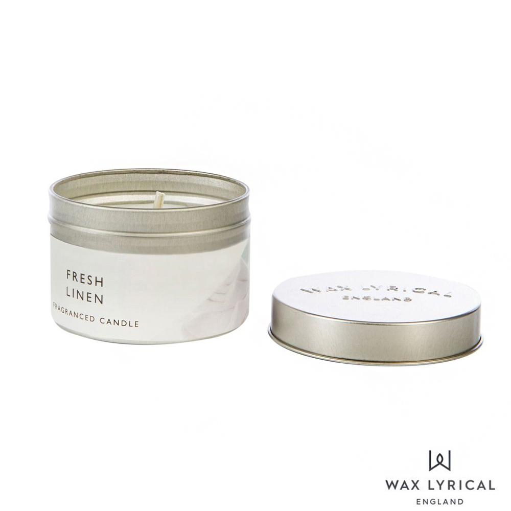 英國 Wax Lyrical 英式經典系列 Fresh Linen 清新亞麻 錫罐 84g 香氛蠟燭