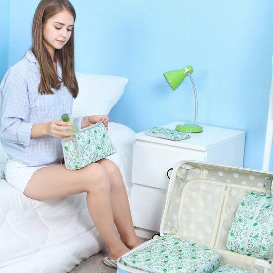 火鶴鳥圖案收納七件套 行李箱 打包 整理 行李袋 登機 可折疊 衣物 拉鍊 ♚MY COLOR♚【N098】