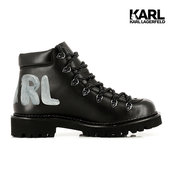 【KARL LAGERFELD】KADET II 筆刷LOGO短靴-黑
