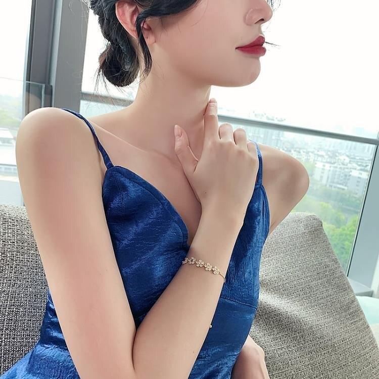 鋯石花瓣高級感手鍊女網紅手鐲學生閨蜜韓版簡約小眾設計個性