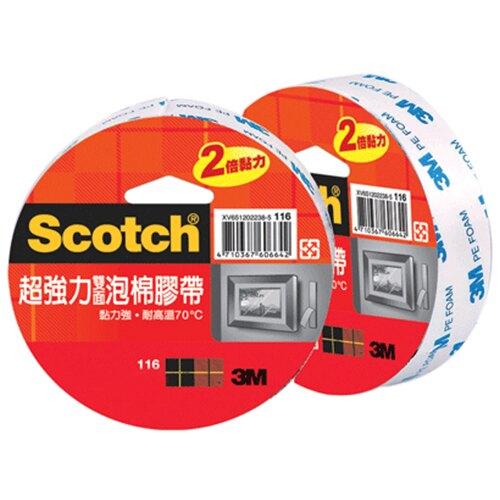 【史代新文具】3M 116 48mm3y超強力泡棉雙面膠帶(1盒6卷)