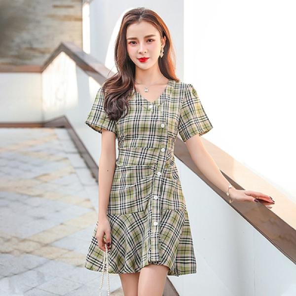短袖洋裝~小個子短裙子收腰女港風學生氣質格子連身裙GD665日韓屋