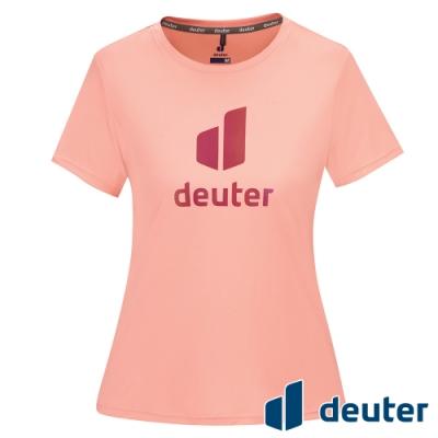 【deuter 德國】女款經典炫光LOGO休閒短袖T恤DE-T2102W珊瑚橘/吸濕排汗/輕薄透氣/反光圖T