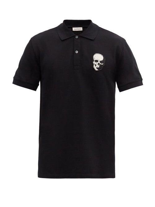 Alexander Mcqueen - Skull-embroidered Cotton-piqué Polo Shirt - Mens - Black