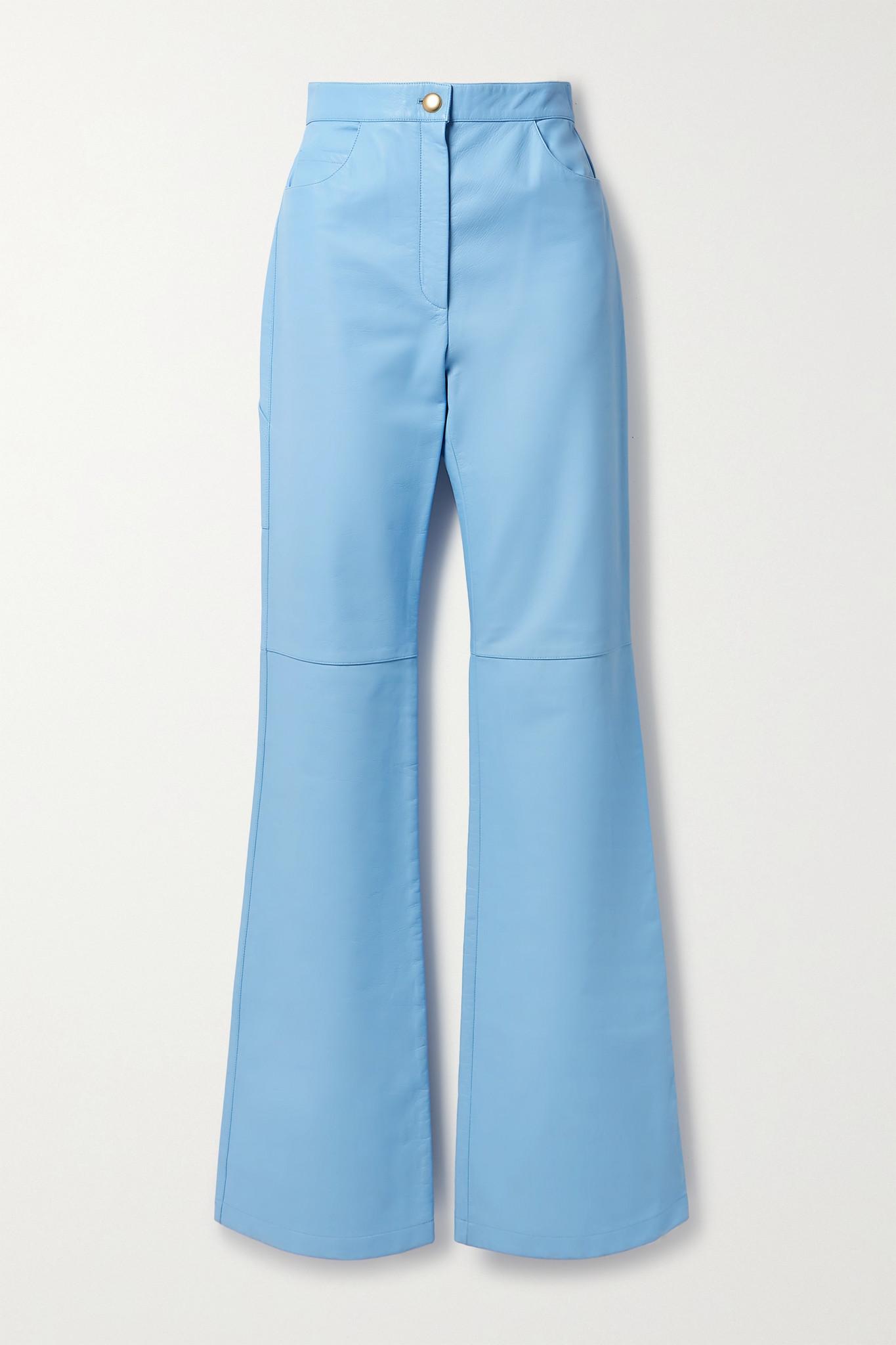 PROENZA SCHOULER - Leather Straight-leg Pants - Blue - US0