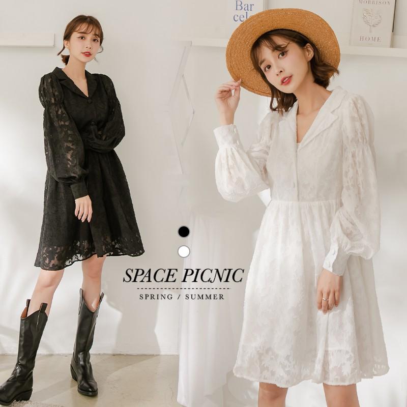 Space Picnic|布蕾絲襯衫領長袖洋裝(現貨)【C21031003】