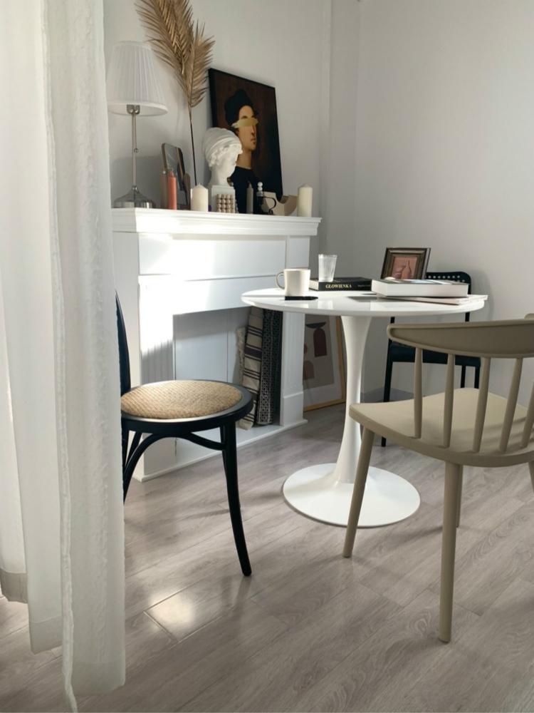 洽談桌 陽臺小圓桌北歐奶茶店ins郁金香餐桌子烤漆簡約接待洽談桌椅白色『XY15327』