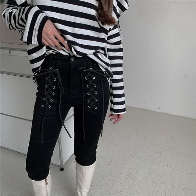 FOFU-時尚chic彈力緊身長褲潮高腰交叉綁帶牛仔褲【08SG05593】
