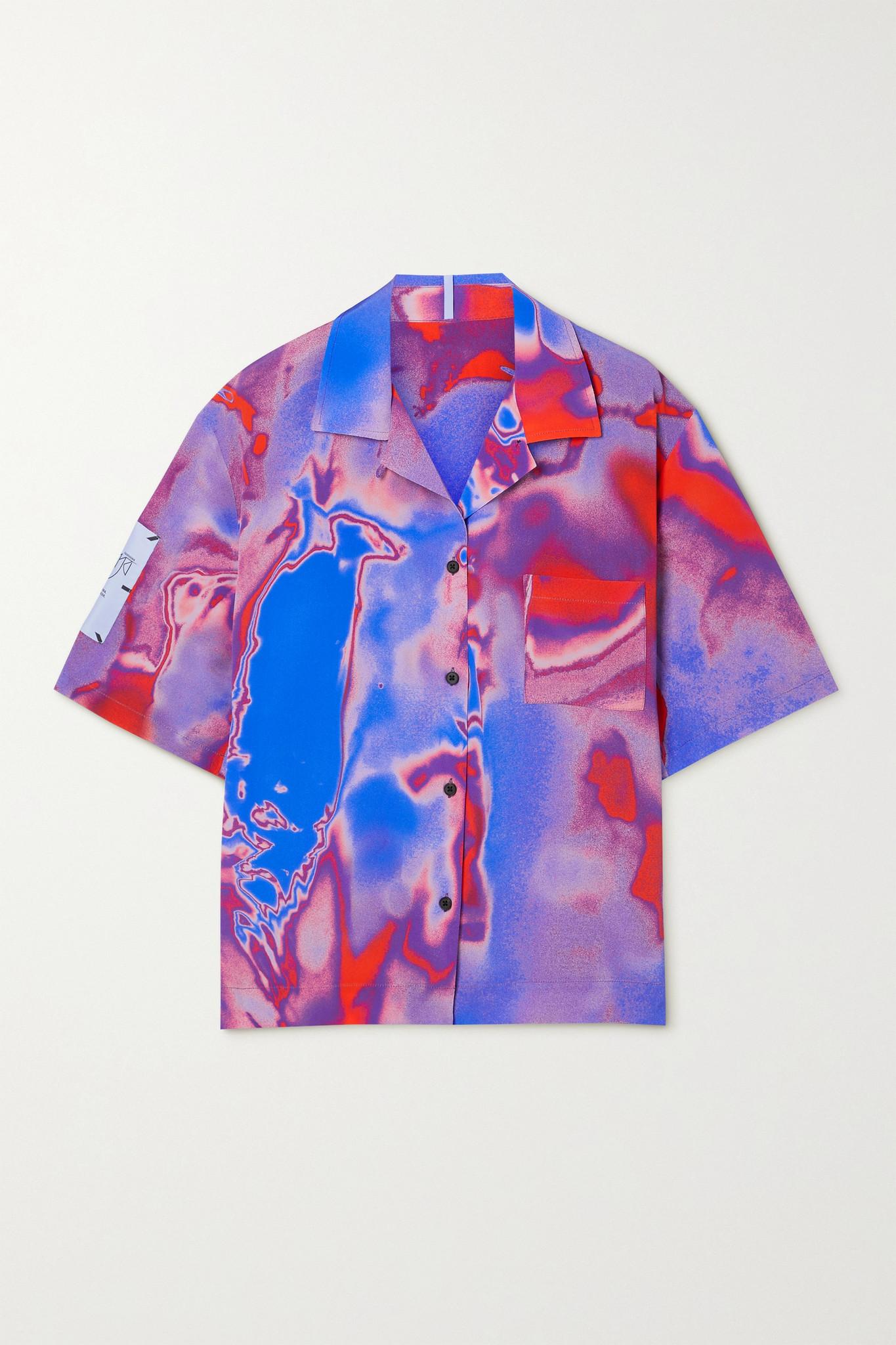 MCQ ALEXANDER MCQUEEN - Fantasma Appliquéd Printed Silk-crepe Shirt - Purple - x small