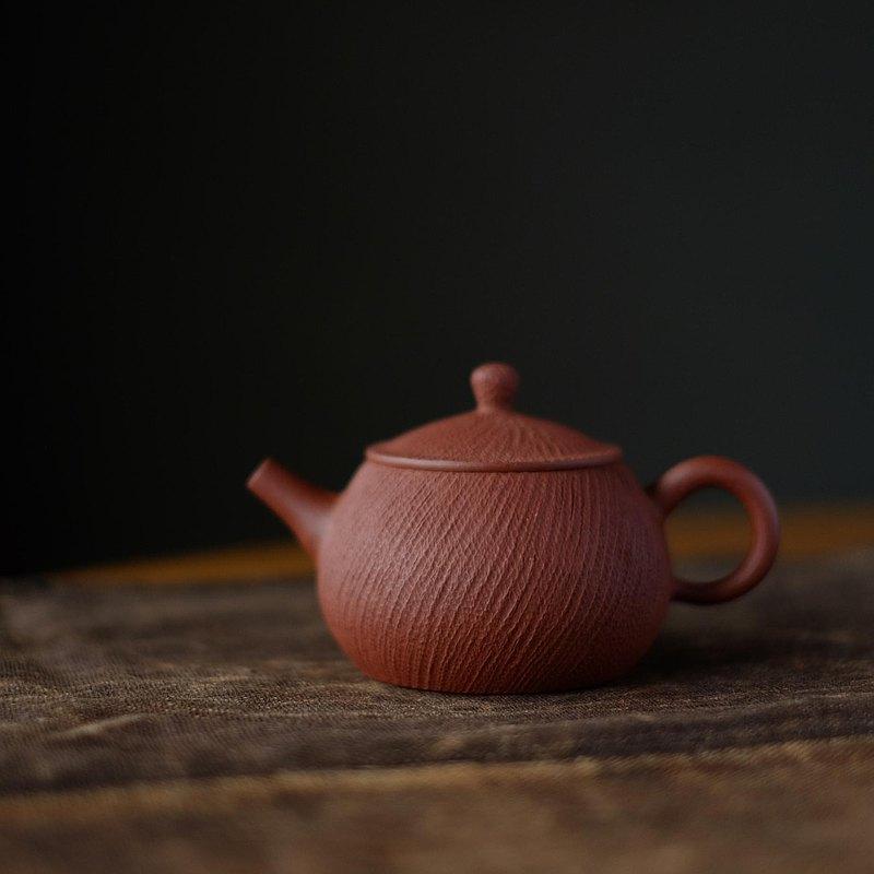 繩紋系列 紫砂 朱泥 手作 茶器 球孔 出水好 單壺