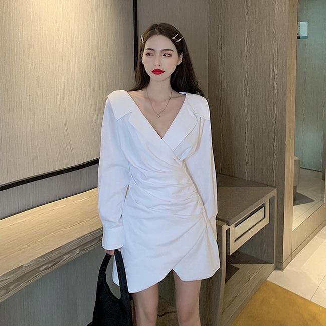 FOFU-設計感白色襯衫裙大v領長袖收腰顯瘦不規則連身裙【08SG05504】