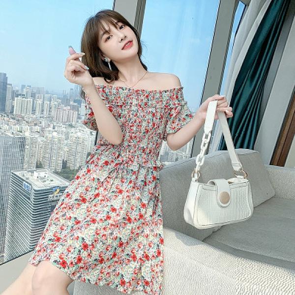 洋裝 連身裙S-XL夏季法式少女甜美公主小清新收腰顯瘦泡泡袖碎花連身裙BMA110紅粉佳人