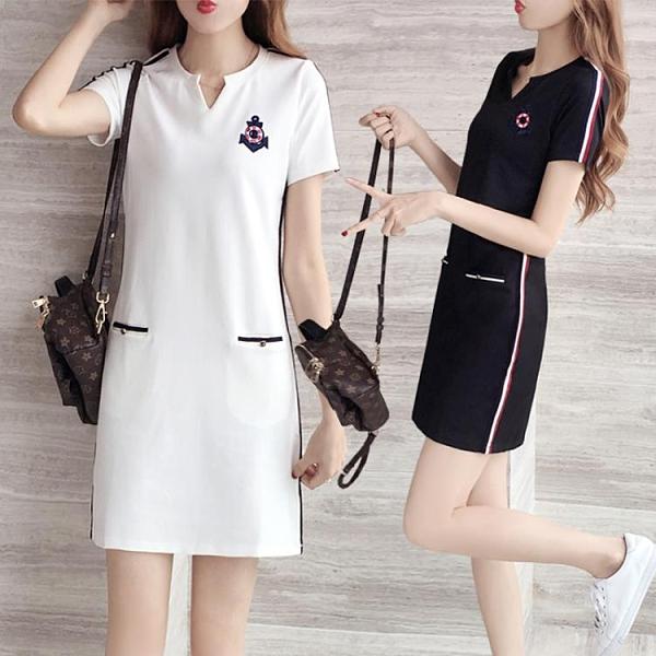 洋裝 2021年夏裝休閒顯瘦短袖連身裙女中長款大碼寬鬆遮肚直筒打底裙子