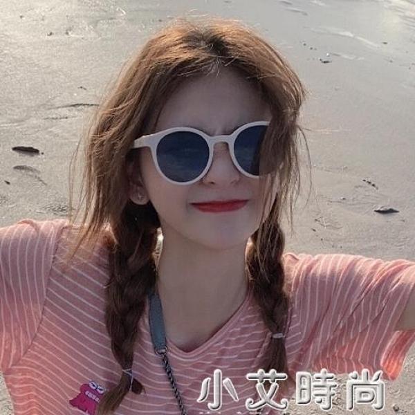 2020韓版潮復古少女白色框gm墨鏡女v牌ins網紅太陽鏡小臉圓臉眼鏡 小艾新品