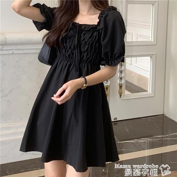 泡泡袖洋裝 夏季2021新款收腰顯瘦方領系帶洋氣黑色短袖連身裙仙女裙子小黑裙 曼慕衣櫃