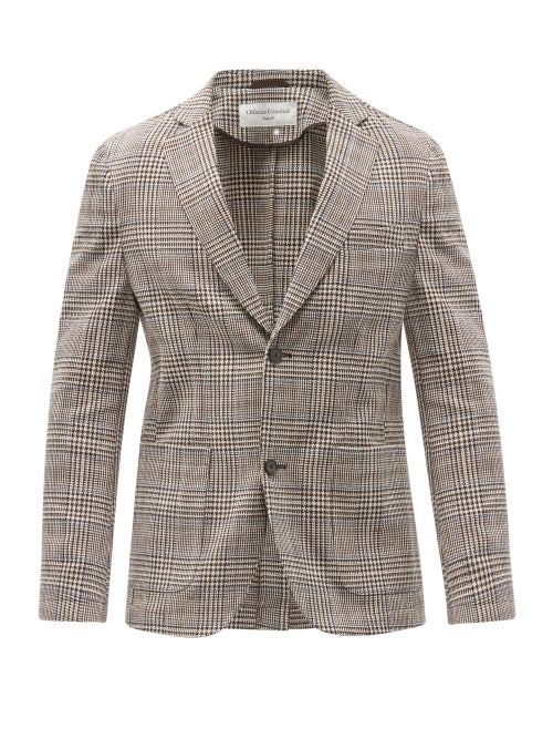 Officine Générale - Prince Of Wales Check Cotton-twill Blazer - Mens - Brown Multi
