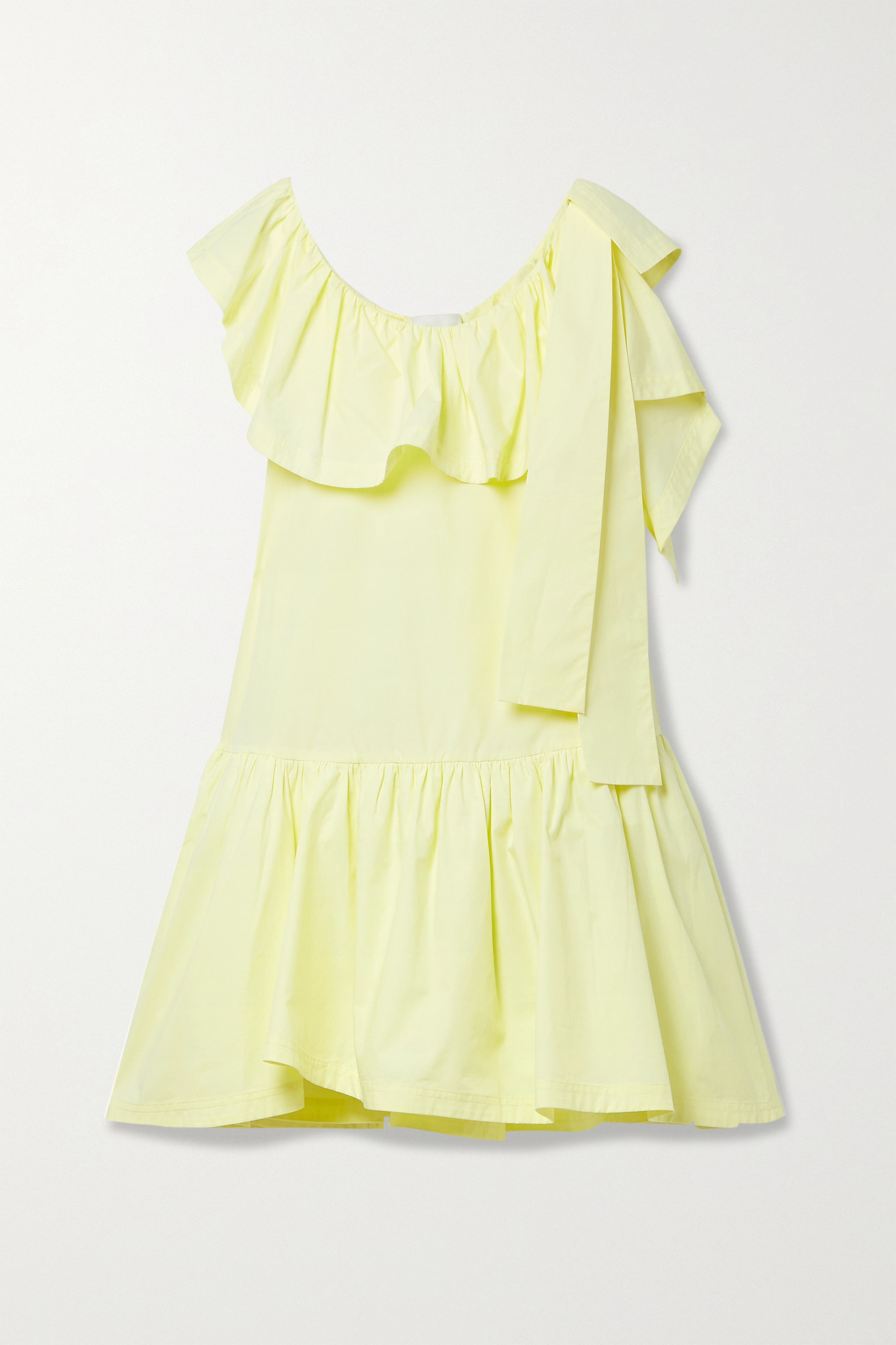 3.1 PHILLIP LIM - Tie-detailed Ruffled Cotton-poplin Mini Dress - Yellow - US4
