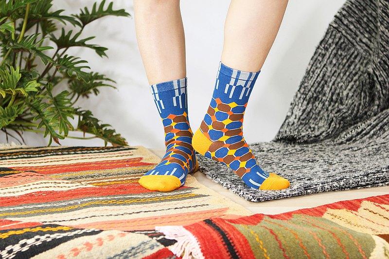 菱格 棉質中筒襪 - 襪子 -  牛仔