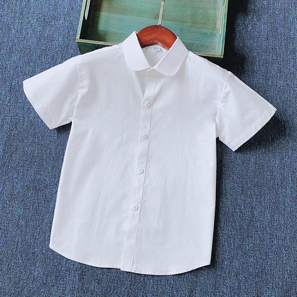 2021夏季新款女童短袖白襯衫純棉圓翻領上衣中大童學生校服白襯衣 快速出貨