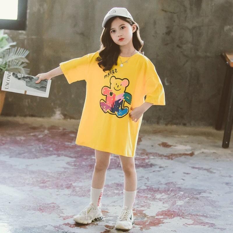 Thanks Giving女童夏裝半袖t恤裙夏季新款韓版女孩寬鬆版短袖T恤中大童裝衣服潮