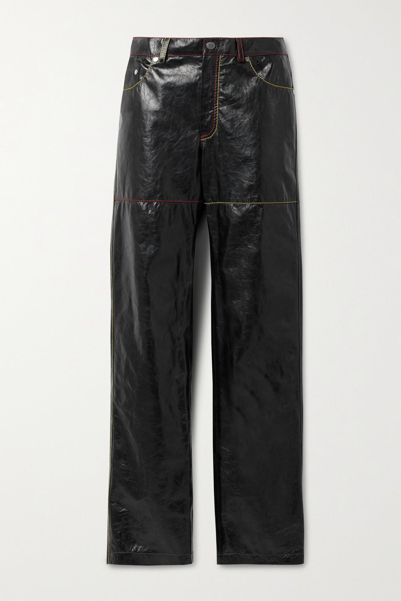 PETER DO - Crinkled-leather Straight-leg Pants - Black - FR38