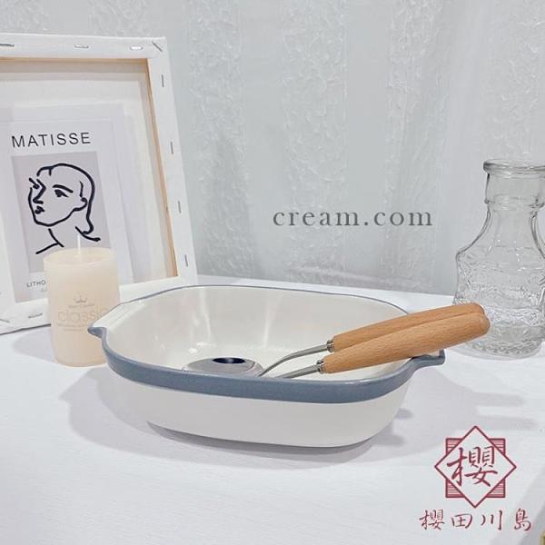 霧霾藍雙耳烤盤陶瓷早餐碗盤子餐盤甜品盤碗碟【櫻田川島】