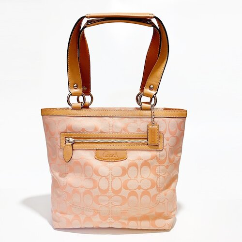 COACH 粉橘色織布款側肩托特包-14693-SV/TG