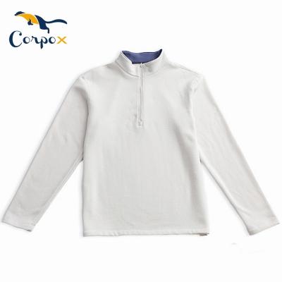 CorpoX-中性拉鍊立領蓄熱刷毛長袖衫-米白