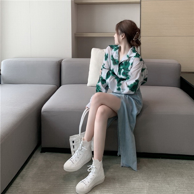 FOFU-韓版氣質長袖印花襯衫百搭寬鬆襯衫上衣女潮【08SG05482】