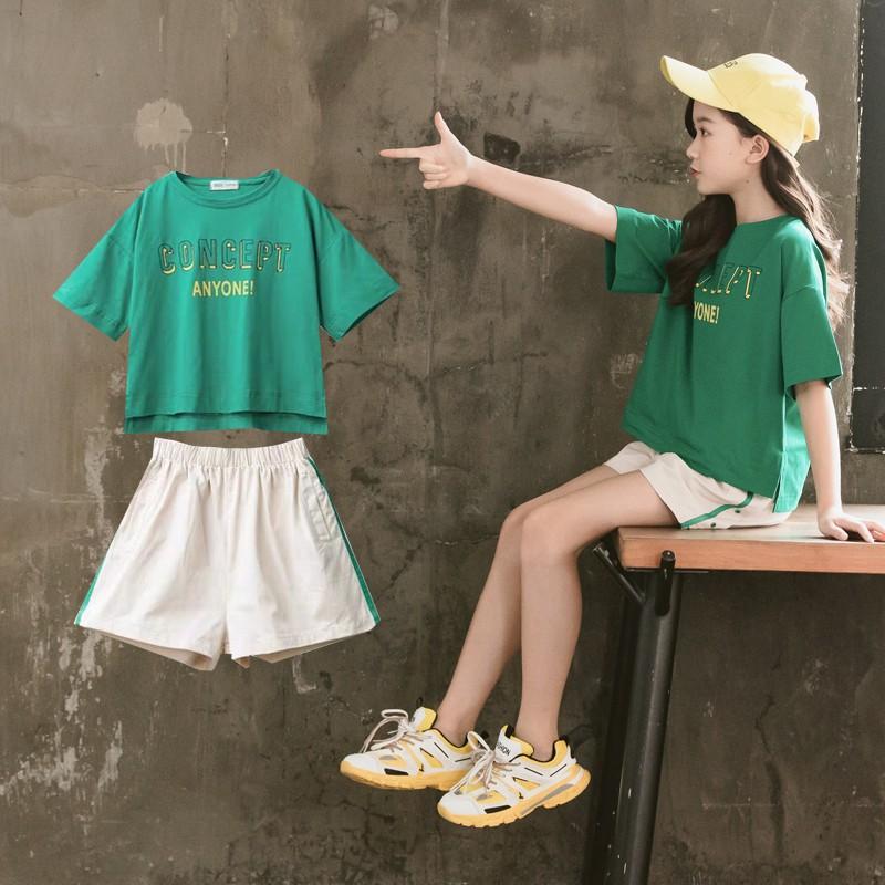 THANKS GIVING女童夏裝套裝夏季新款兒童裝洋氣網紅夏季韓版套裝