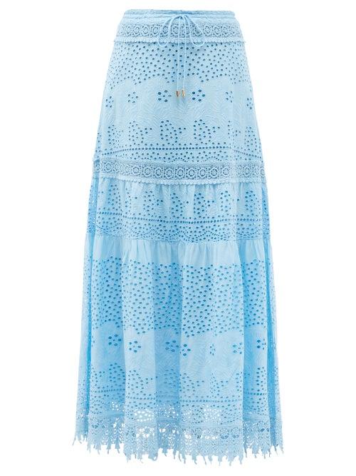 Melissa Odabash - Alessia Broderie-anglaise Cotton Skirt - Womens - Light Blue