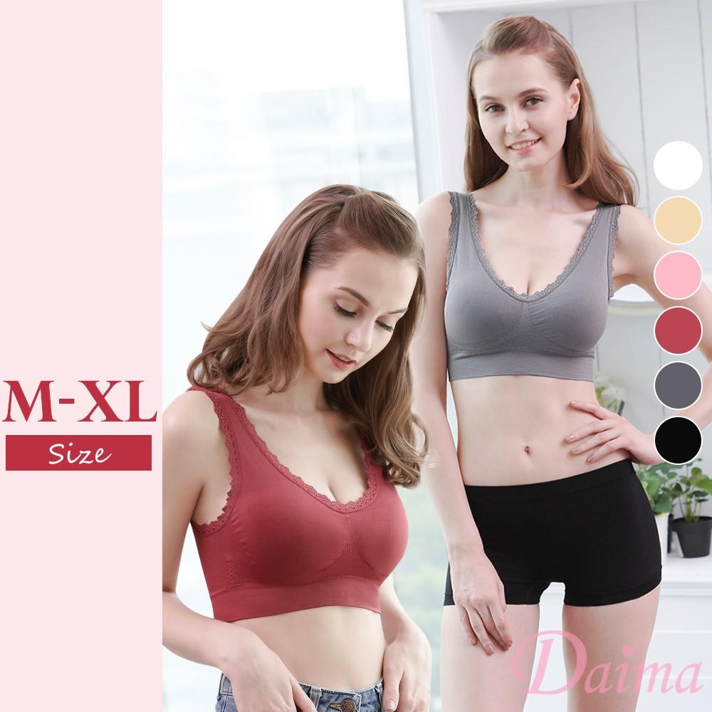 【黛瑪Daima】 M-XL 6色可選 運動無鋼圈內衣 蕾絲 下圍加寬 穩定包覆 內搭 睡眠832