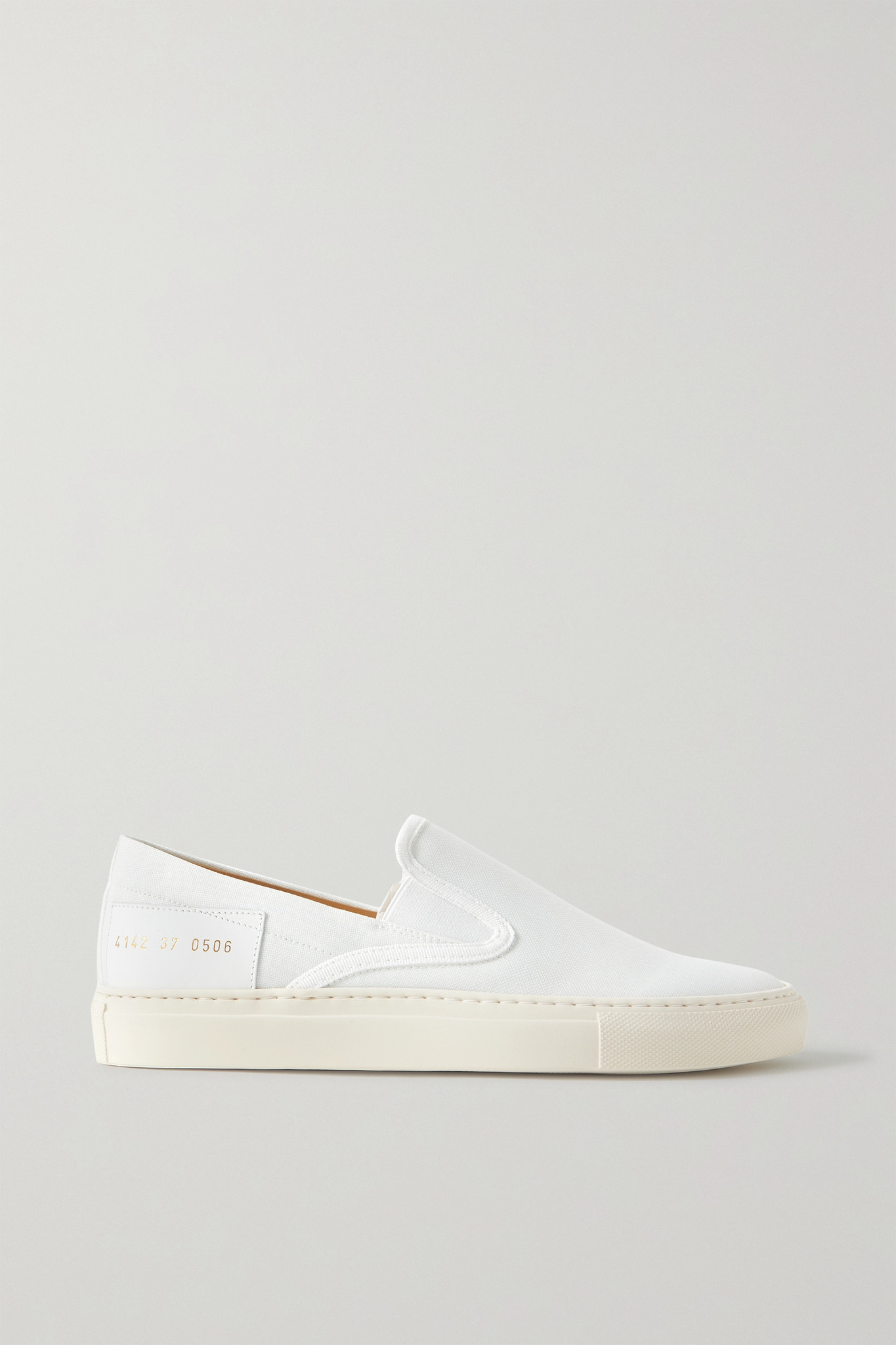 COMMON PROJECTS - Leather-trimmed Canvas Slip-on Sneakers - White - IT35