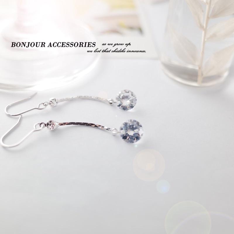 韓國垂墜搖擺小鑽 耳環 夾式 針式【Bonjouracc】