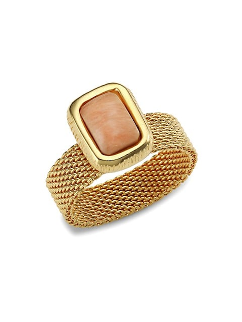 Totem 24K Goldplated & Pink Calcite Ring