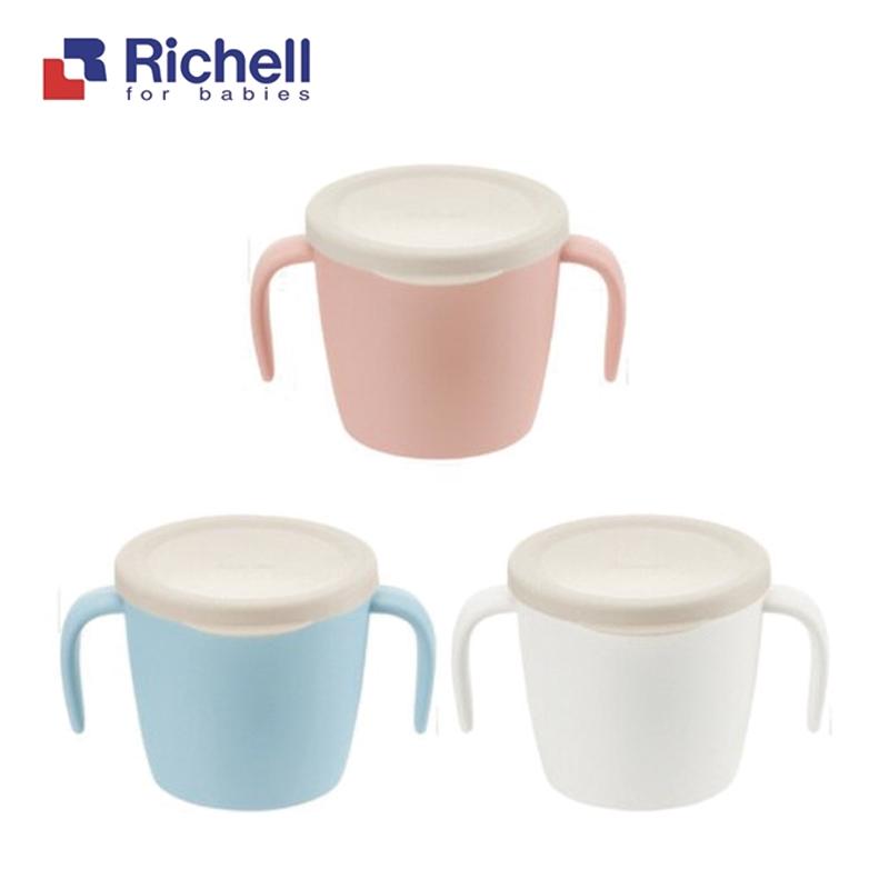 Richell 利其爾 雙層可拆式不鏽鋼雙耳杯260ml(附蓋) 米菲寶貝
