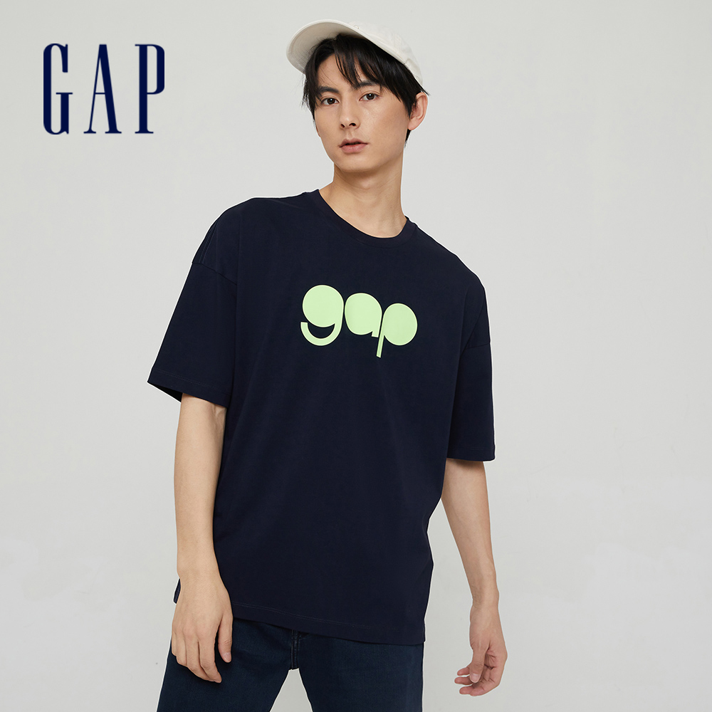 Gap 男女同款 Logo純棉圓領短袖T恤 732678-海軍藍