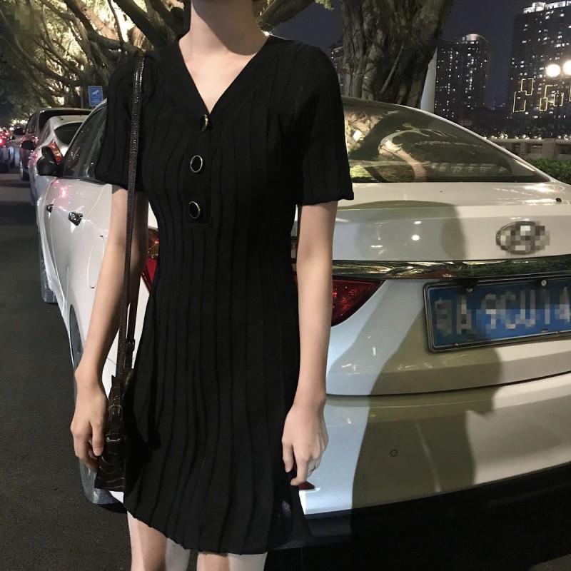 韓版氣質洋裝 chicV領短袖針織裙 收腰A字裙連衣裙