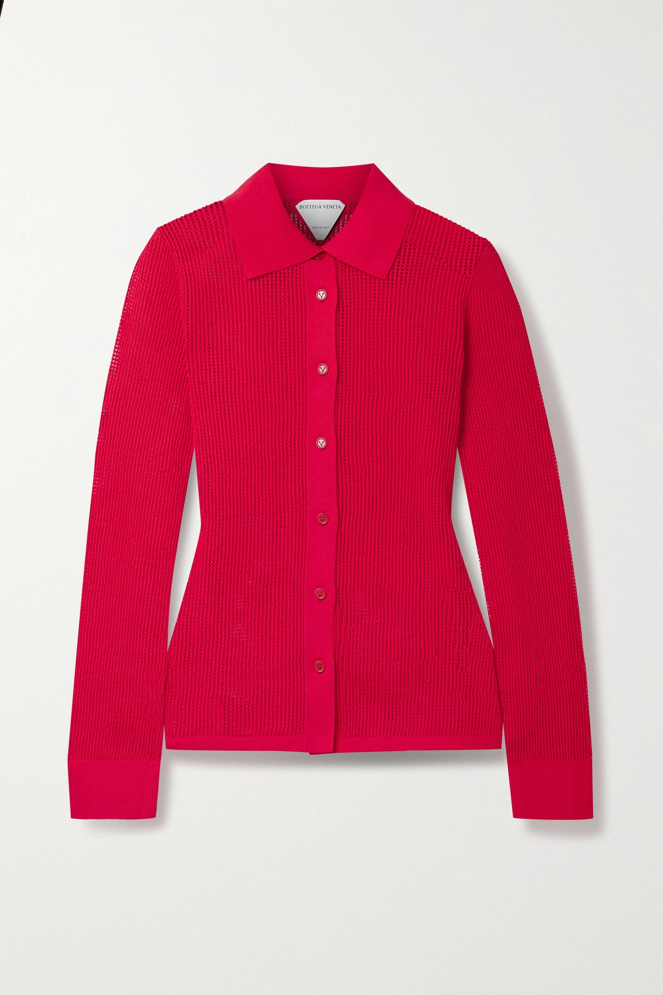 BOTTEGA VENETA - 镂空针织衬衫 - 红色 - x large