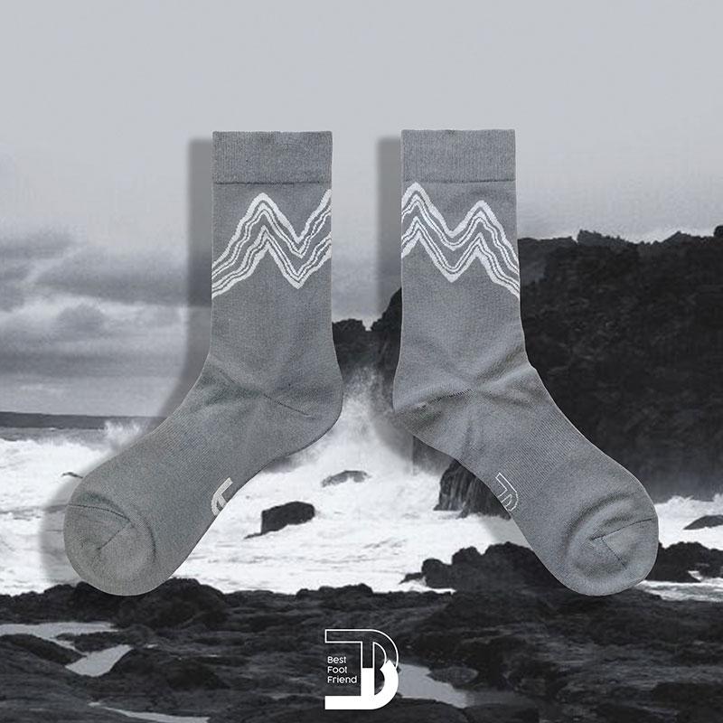BEST FOOT FRIEND - BF200024-06 山脈線條 BFF 中筒襪 / 小腿襪 (深藍色)