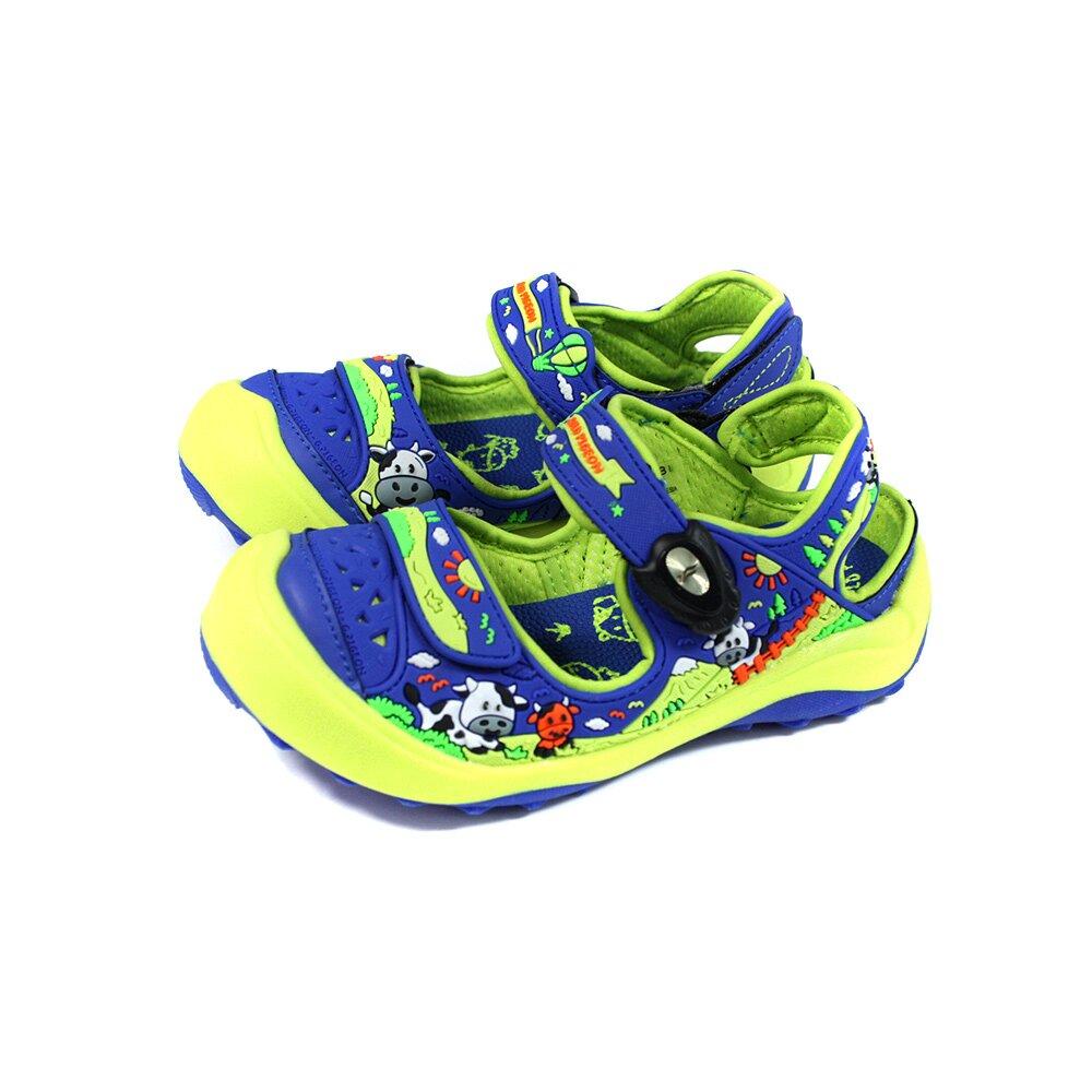 G.P(GOLD PIGEON) 護趾涼鞋 藍/綠 乳牛 中童 童鞋 G1629B-26 no424