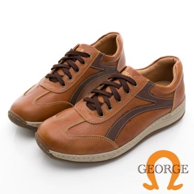 GEORGE 喬治皮鞋氣墊系列 真皮拼接配色綁帶氣墊鞋 -淺咖 118003HK