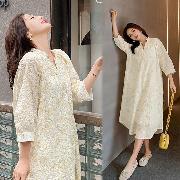 漂亮小媽咪 實拍 兩件式 中長 襯衫洋裝 【DS2325】七分袖 V領 中袖 寬鬆 文藝 長裙