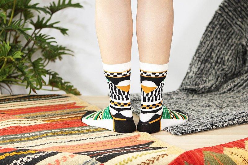 地毯 棉質中筒襪 - 襪子 -  白