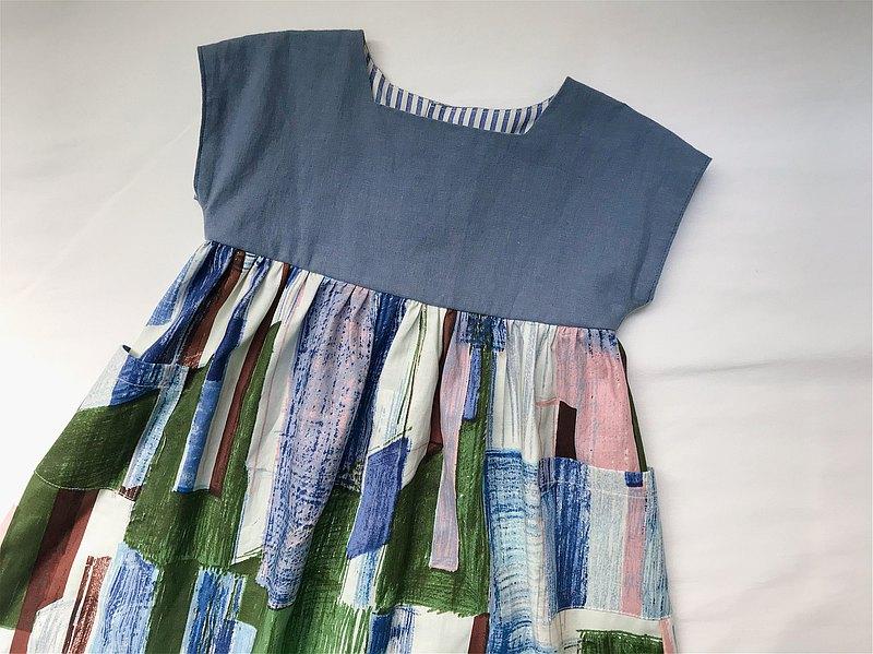 方領長版洋裝