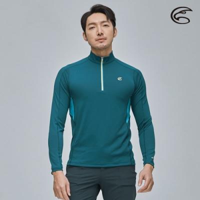 ADISI 男UPF50+防曬長袖半門襟排汗衣AL2111094 水手藍