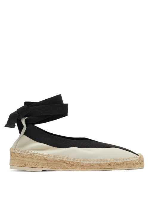 Hereu - Horta Lace-up Leather Espadrilles - Womens - White Black