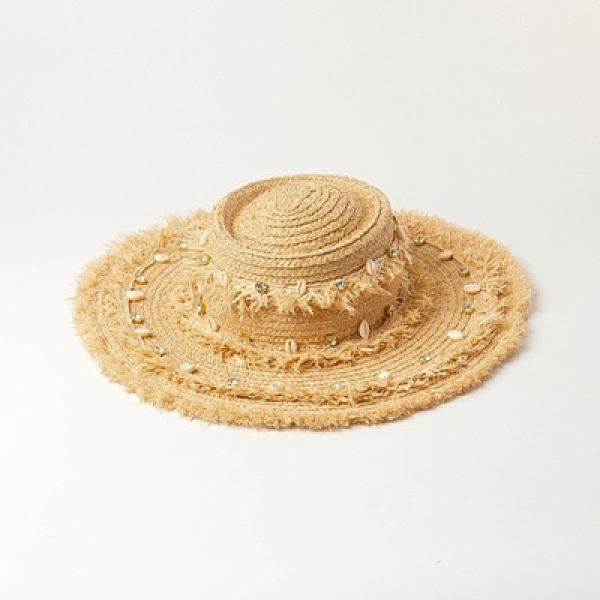 草帽-貝殼亮鑽草鬚大簷女遮陽帽73zr36[巴黎精品]