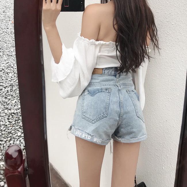 FOFU-韓版破洞牛仔短褲熱褲寬鬆顯瘦印花闊腿褲女潮【08SG05527】