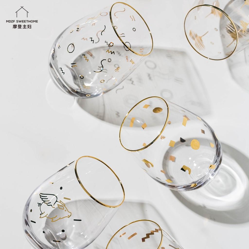 【現貨秒出】摩登主婦 金邊玻璃大肚杯 圓形慕斯杯 酸奶杯 ins冷水杯子 家用牛奶杯